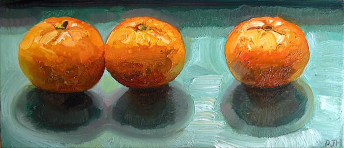 "Painting ""Three Oranges in Shadow"" by Paul Hutchinson"