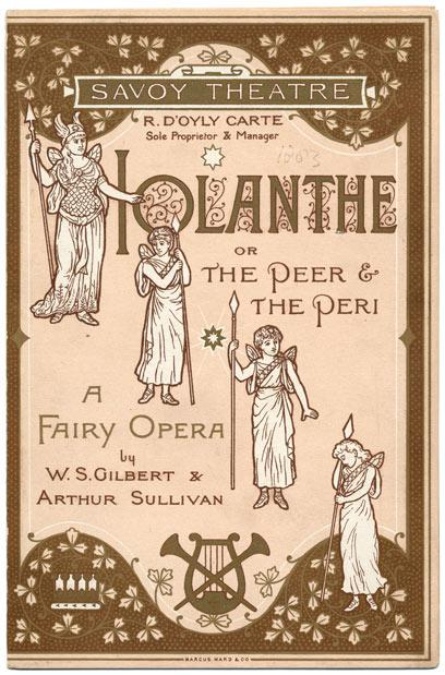 "Original Program Cover to Gilbert & Sullivan's ""Iolanthe"" at the Savoy Theatre"