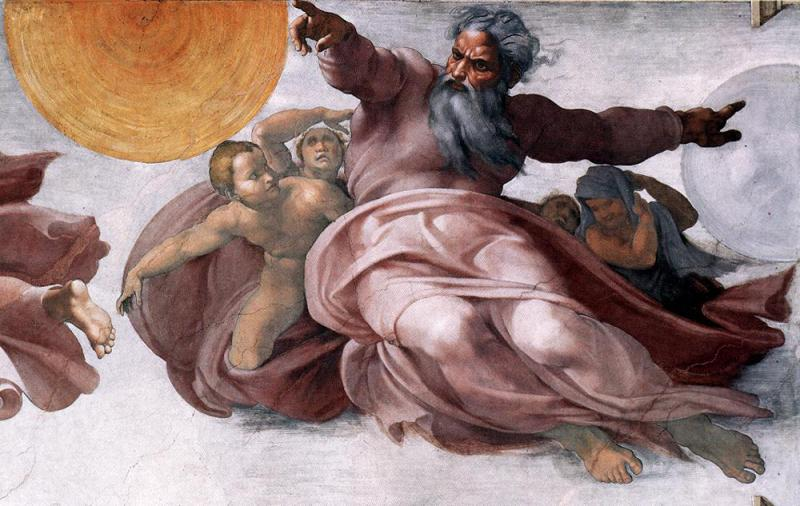 God creates the sun and moon: Detail from Michelangelo's Sistine Chapel ceiling