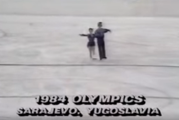 British ice dancers Jayne Torvill and Christopher Dean at the 1984 Winter Olympics in Sarjevo, Yugoslavia