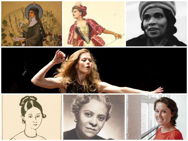 Clockwise from top left: Hildegaard von Bingen, Julie d'Aubigny, Marian Anderson, Barbara Hannigan, Caroline Shaw, Florence Price, Marie Bigot.