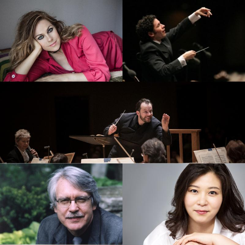 clockwise, from upper left: Kristine Opolais (credit Tatyana Vlasova); Gustavo Dudamel (LA Philharmonic); Andris Nelsons (credit Marco Borggreve); Shi-Yeon Sung (courtesy of the artist); John Harbison (courtesy of the artist)