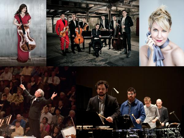 clockwise from top left: Alisa Weilerstein; Philharmonix; Joyce DiDonato; So Percussion; Michael Tilson Thomas