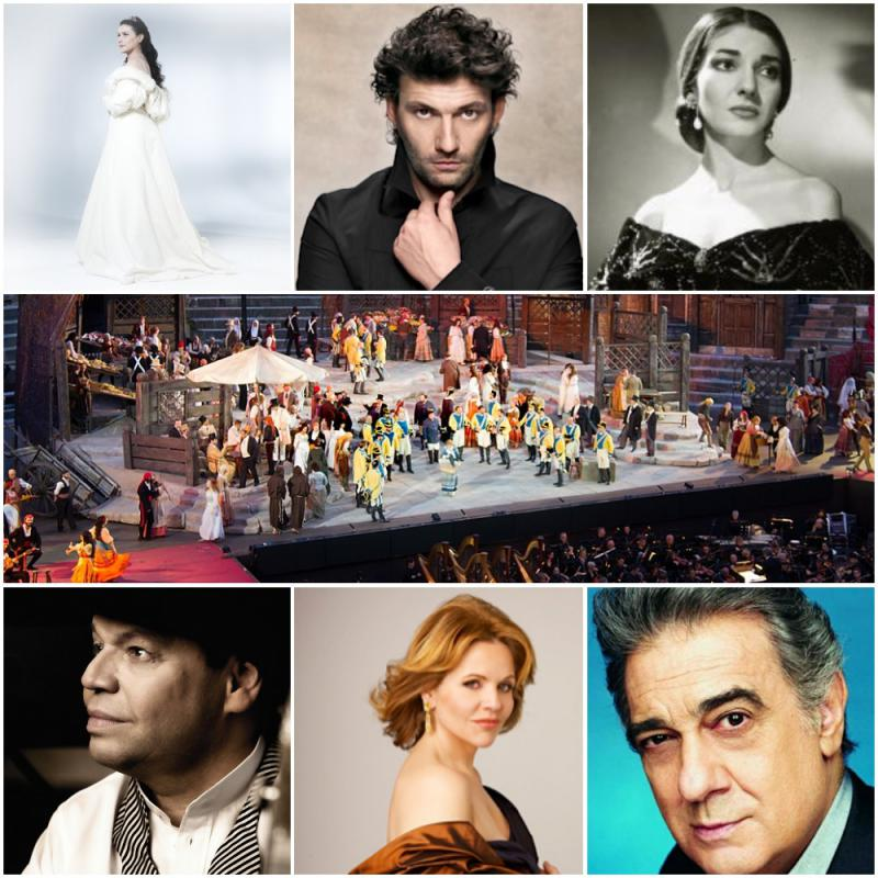 "Clockwise from top left: Cecilia Bartoli, Jonas Kaufman, Maria Callas, a production of Bizet's ""Carmen,"" Thomas Quasthoff, Renée Fleming, Plácido Domingo"