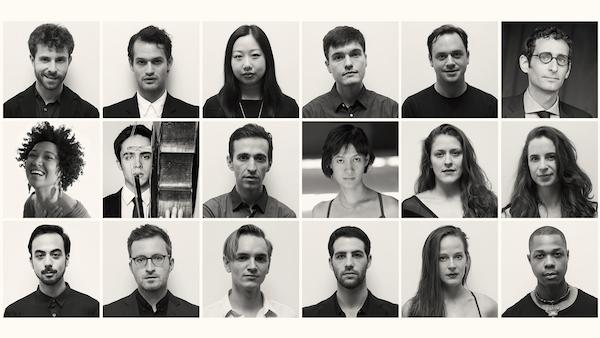 Members of the American Modern Opera Company; co-founders Matthew Aucoin and Zack Winokur in the top left corner, left to right respectively
