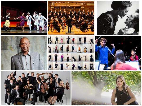 Clockwise from top left: Boston Ballet; Cantata Singers; Boston Lyric Opera; Phoenix Orchestra; Maria Finkelmeier; A Far Cry; Branford Marsalis; Les Talens Lyriques