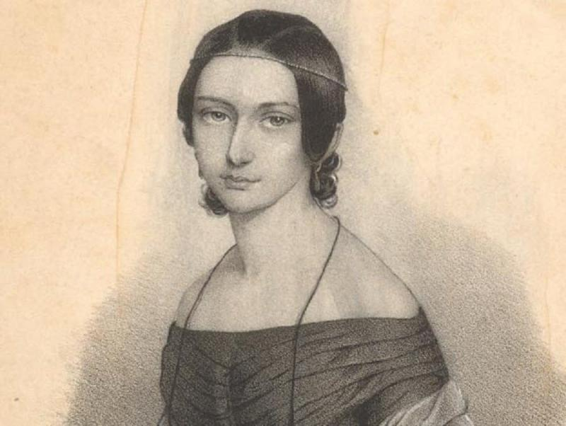 Clara Schumann. Engraved portrait by Em. Raerentzen & Co., 1842 / Yale University Library