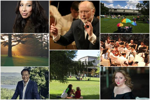 Soprano Nicole Cabell, conductor and composer John Williams, the Boston Symphony Orchestra, soprano Christine Goerke, cellist Yo-Yo Ma, and scenes from Tanglewood