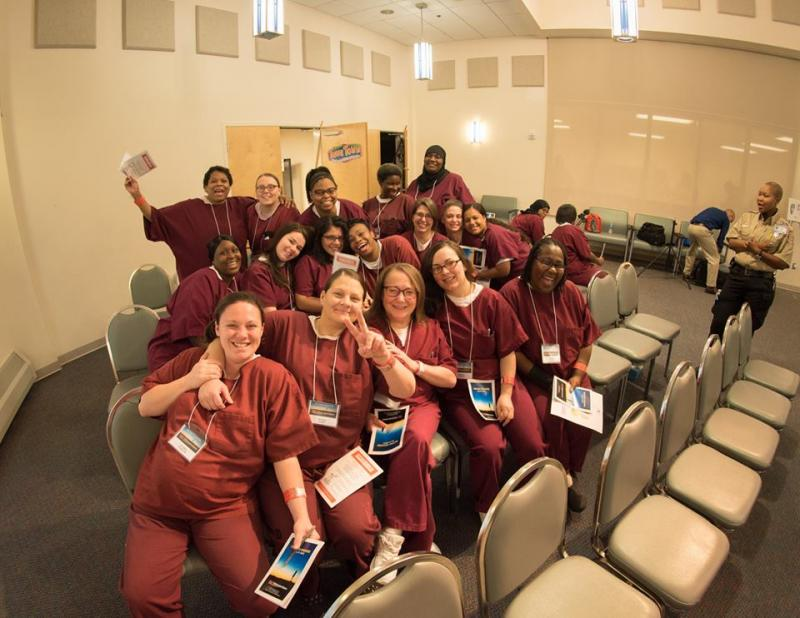 Inmates pose for a photo during the TEDxWilmingtonSalon at Baylor Women's Correctional Institution.