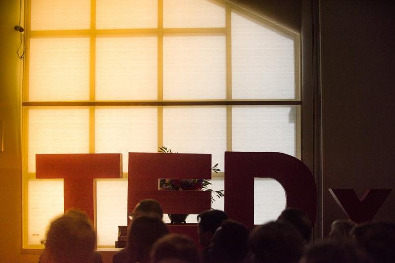 The TEDx logo adorns the Baylor chapel.