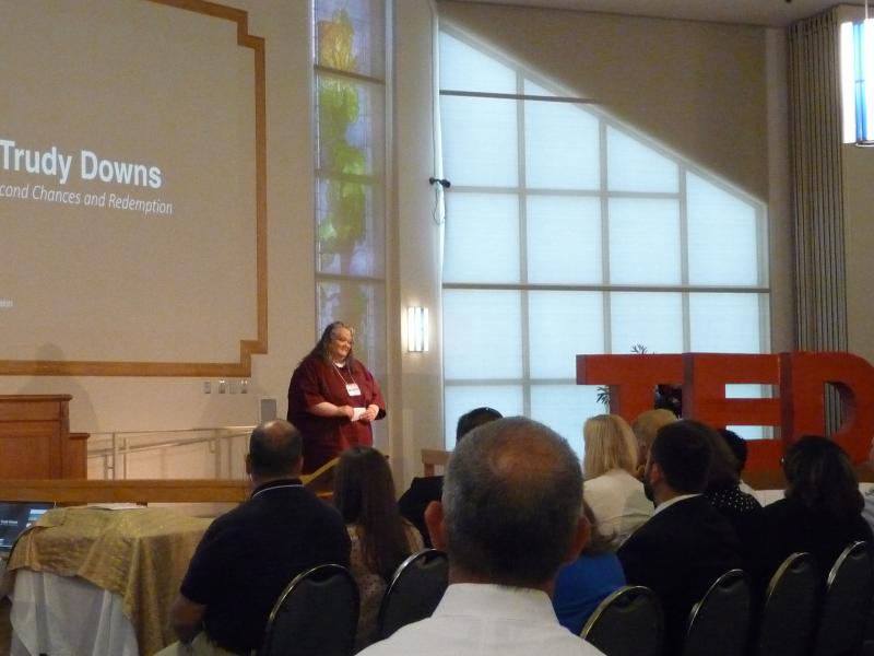 """Trudy Downs talks about a """"lifetime"""" behind bars during her TEDx talk in the Baylor chapel."""