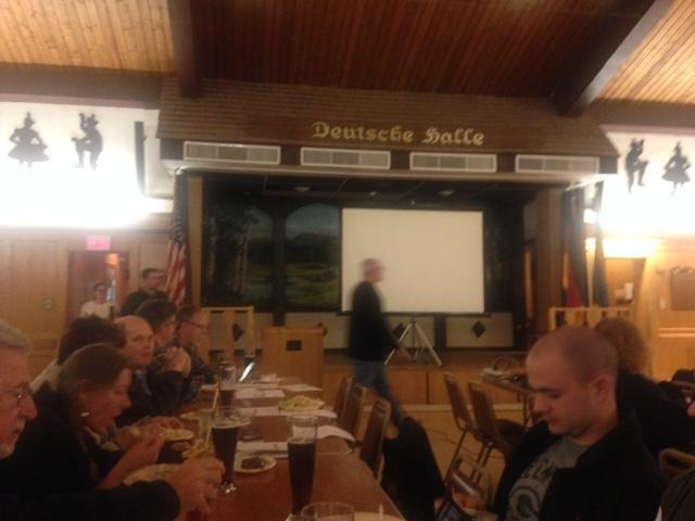 Just before Medkeff's talk at the Delaware Saengerbund in Newark