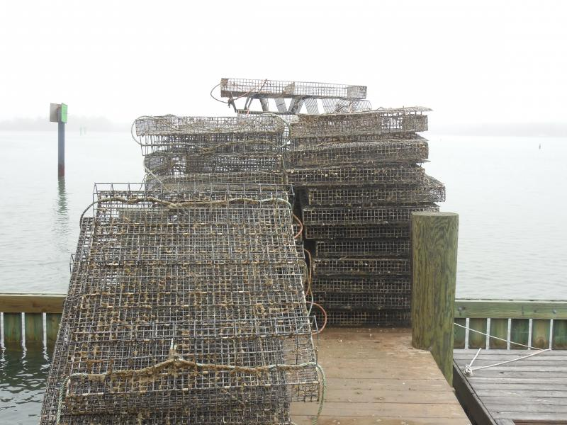 Oyster cages on the dock at St. Jerome Creek
