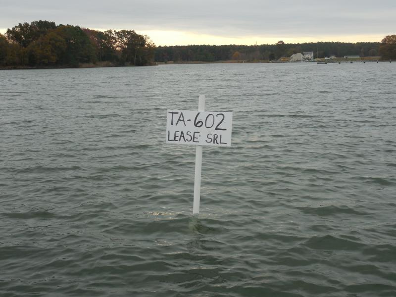 The sign marking Bobby Leonard's lease in Edge creek