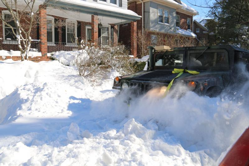 Tactical vehicles such as Humvees, 5-ton trucks, and wreckers were used during the storm