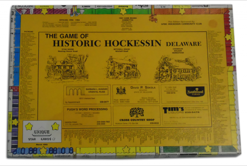 A monopoly-style game produced by the GFWC Hockessin Community Club.
