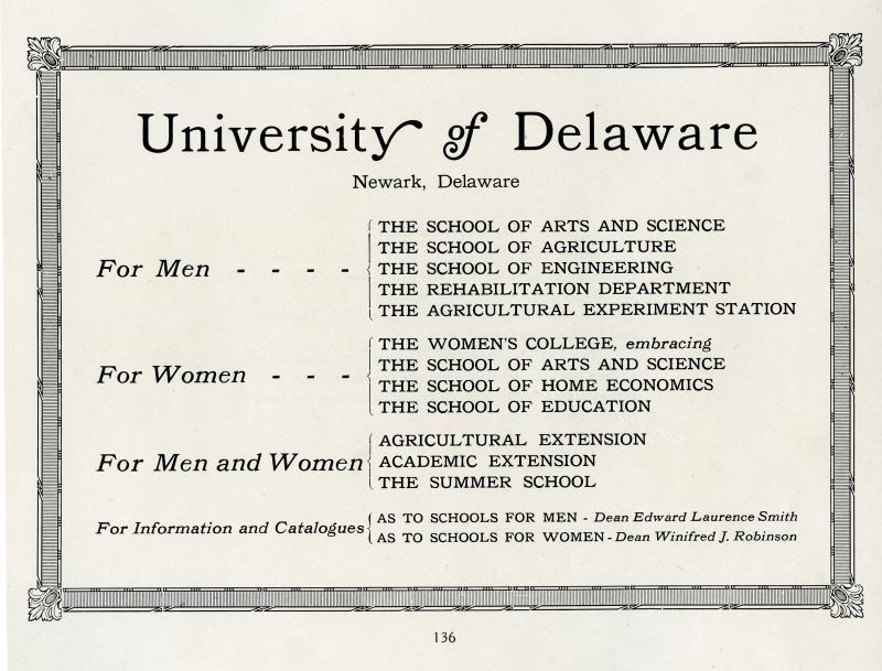 Course offerings for men and women in the Women's College of Delaware's 1922 Blue and Gold yearbook