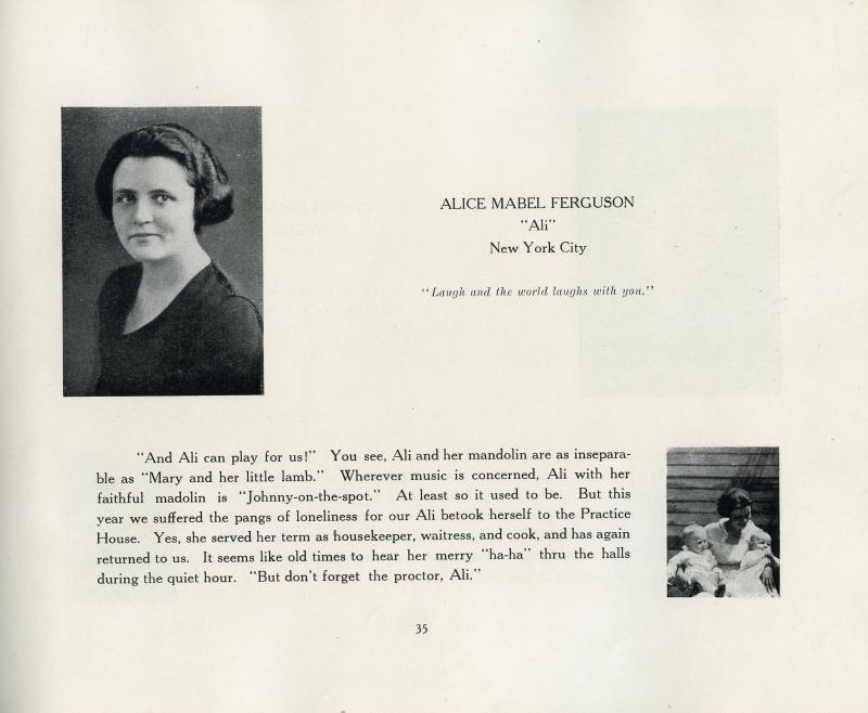 Alice Mabel Ferguson's bio in the Women's College of Delaware's Blue and Gold yearbook from 1922.