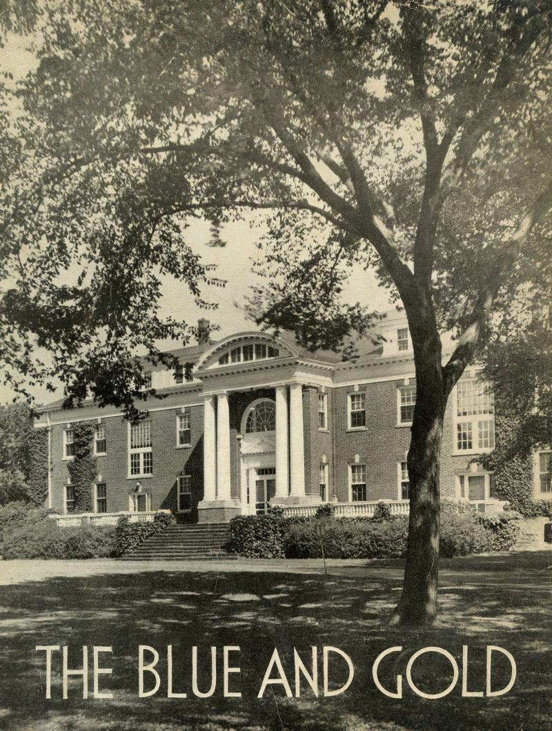 The Women's College's Warner Hall from the front cover of The Blue and Gold yearbook, 1943-44