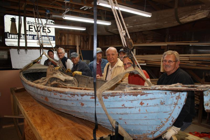 A 1920's Delaware Ducker artifact boat being restored by the Lewes Historical Society.