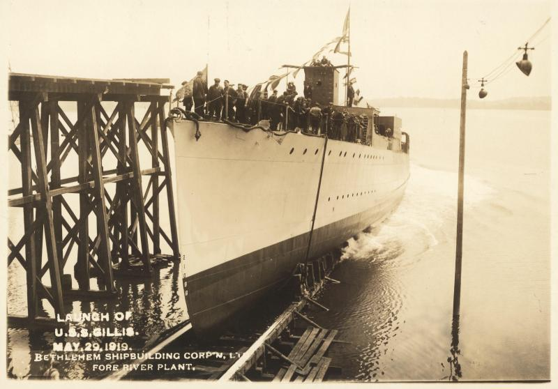 The launch of the U.S.S. Gillis on May 29, 1919.