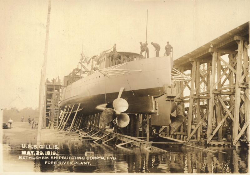 Building of the U.S.S. Gillis Ship in 1919 at the Bethlehem Shipbuilding Corp.
