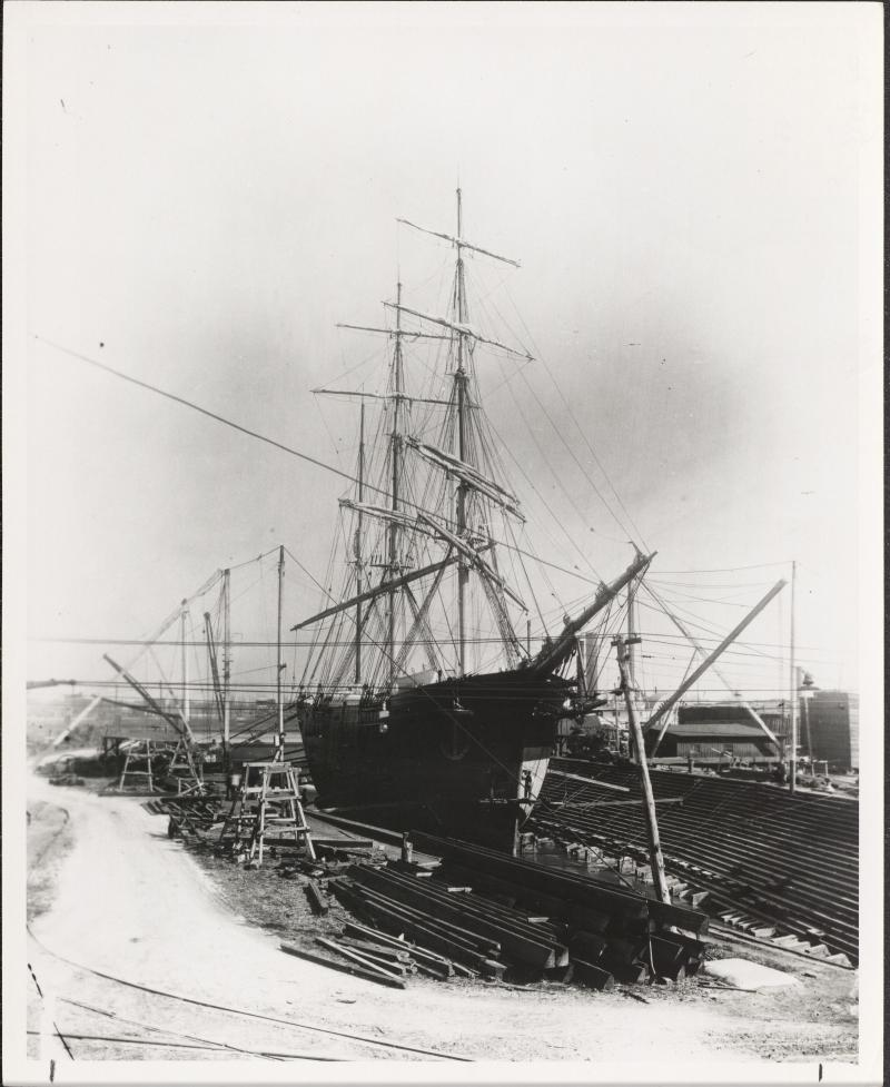 A ship in Harlan & Hollingsworth's dry dock ca. 1900.