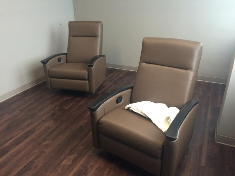 Since individuals only stay in the center for 23 hours or less, recliners take the place of beds.