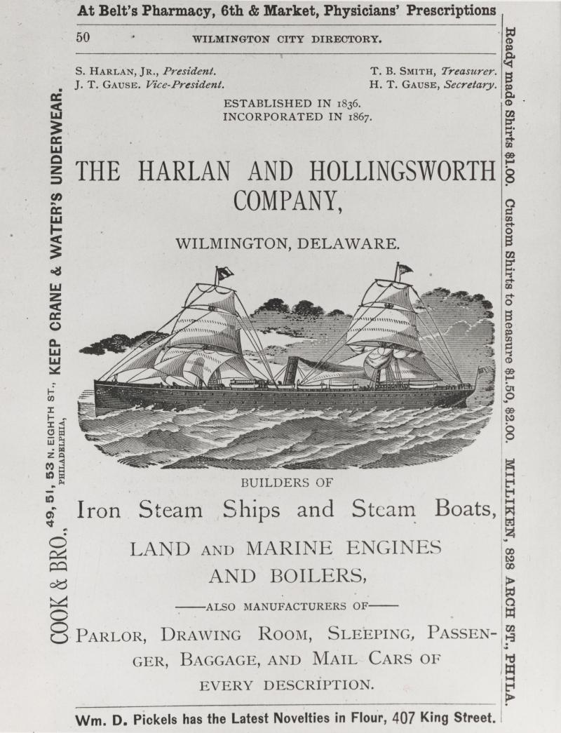 A Harlan & Hollingsworth advertisement from the late 19th century.