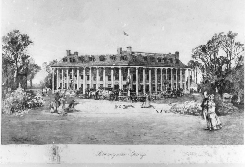 Robert Shaw rendering of the first Brandywine Springs Hotel in 1909.