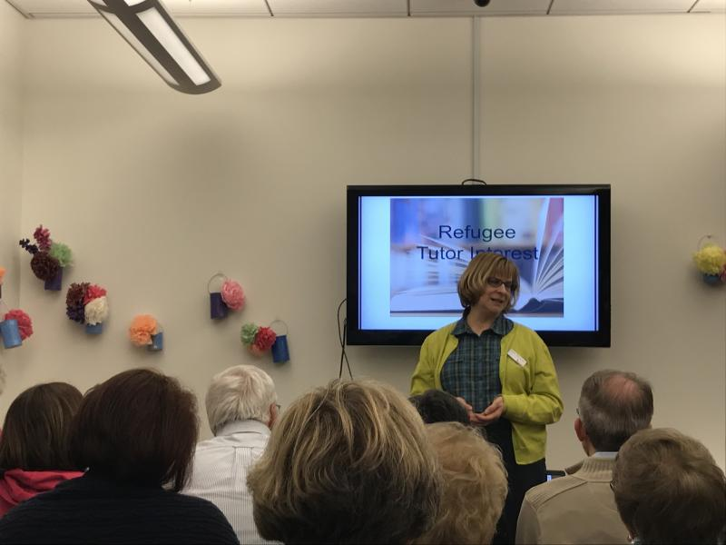 Literacy Delaware Executive Director Cindy Shermeyer discusses the non-profit's volunteer tutoring program Wednesday night.