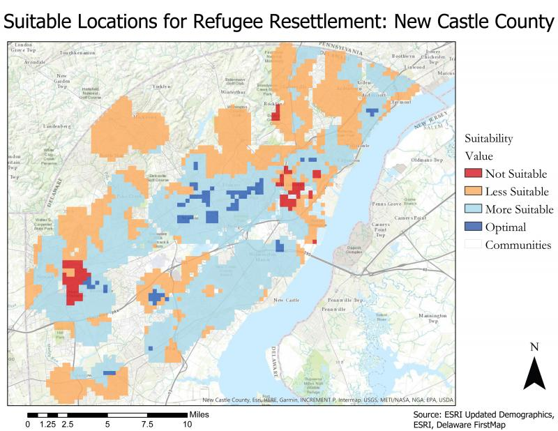 University of Delaware geography grad student Nathan Thayer mapped out prime housing locations for refugees.