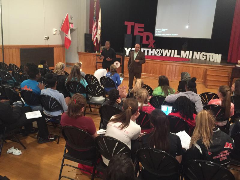 Youth prepare for their TEDx Wilmington talks Monday night.