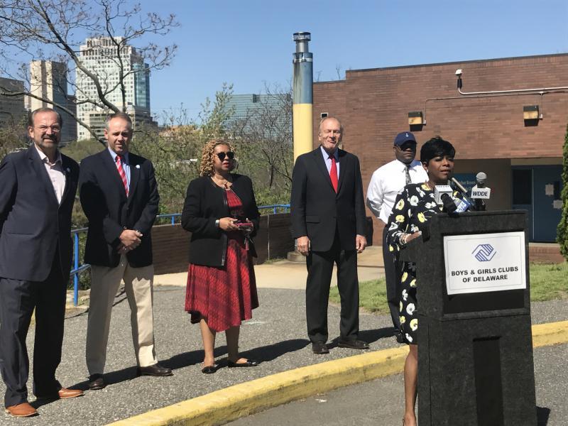 Wilmington councilwoman Zanthia Oliver speaks Tuesday.