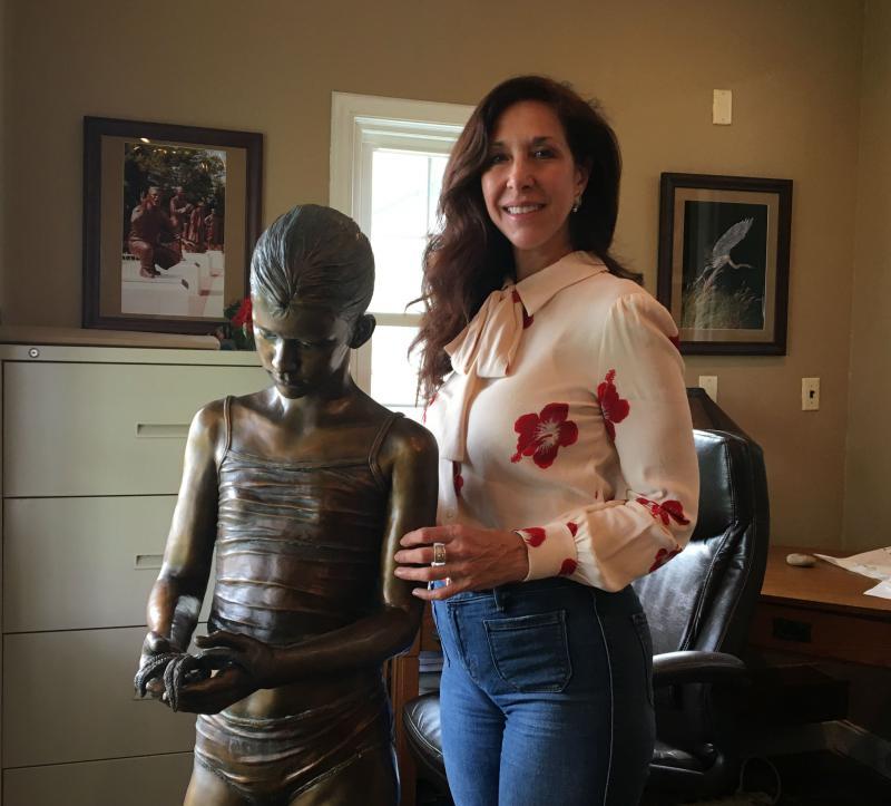 """Kristen Visbal with sculpture """"Jessica"""" in her Lewes studio"""