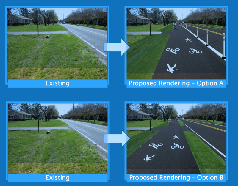 A rendering from DelDOT of a proposal to widen Munchy Branch and Wolf Neck for a shared use path.