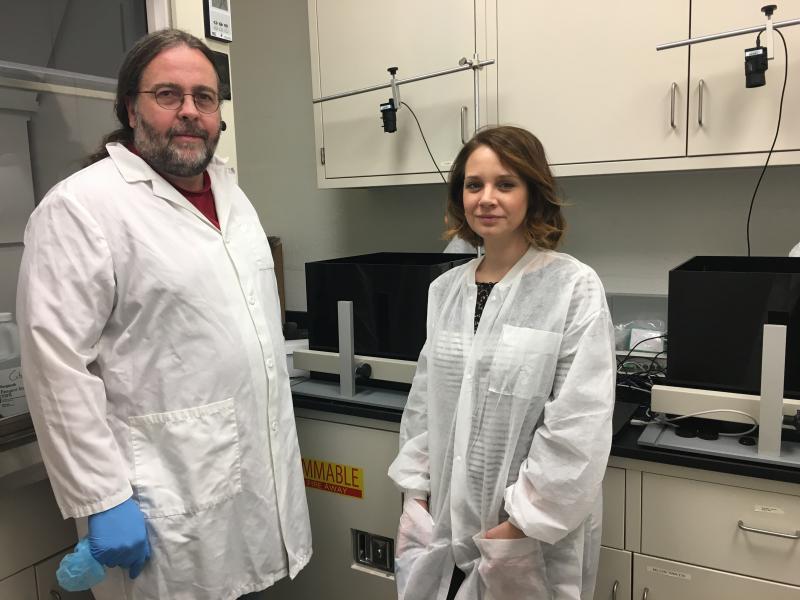A photo of DSU's Michael Gitcho and post-doc Stephani Davis.