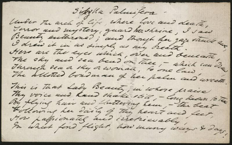 "Manuscript of poem ""Sibylla Palmifera"" by Dante Gabriel Rossetti. Included in the archives."