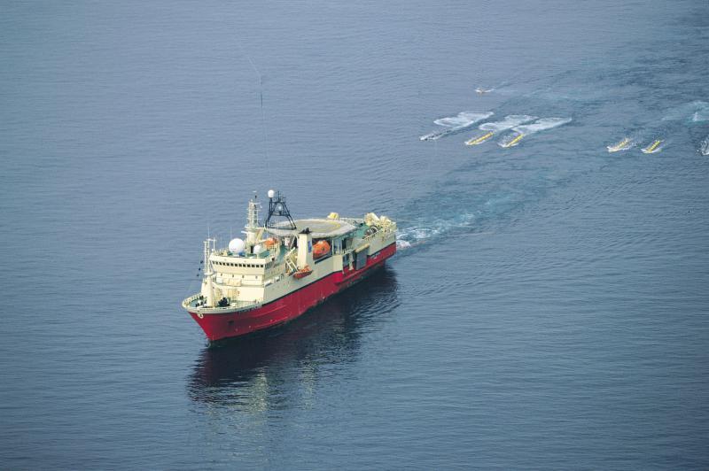 A ship towing an airgun array.