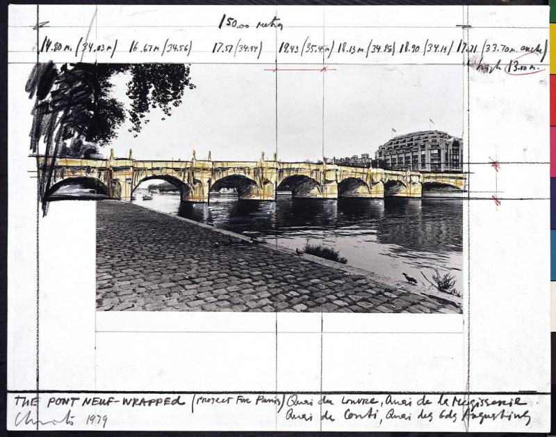 """The Pont Neuf Wrapped -- Project for Paris"" Artist: Christo, 1979. Collages Photograph (pencil, enamel paint, crayon, charcoal and photograph by Wolfgang Volz on paper)"