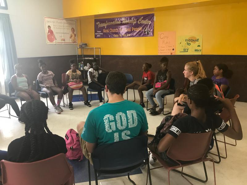 A group of middle school youth summer campers meet in People's Settlement in Wilmington.