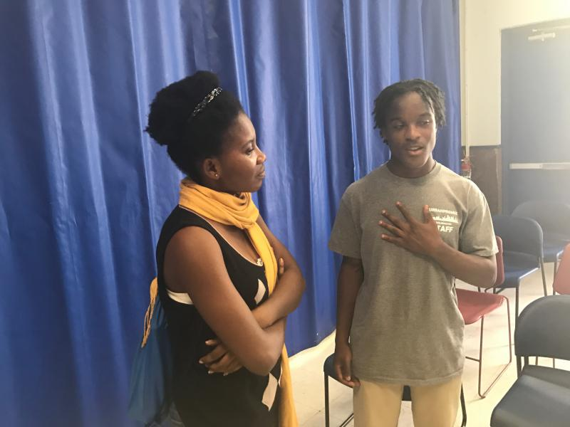 24-year-old Marie Stephan (left) visited with 18-year-old Braycen Lenoir (right) about U.S. youth this week. Stephane is visiting the U.S. from the Ivory Coast.