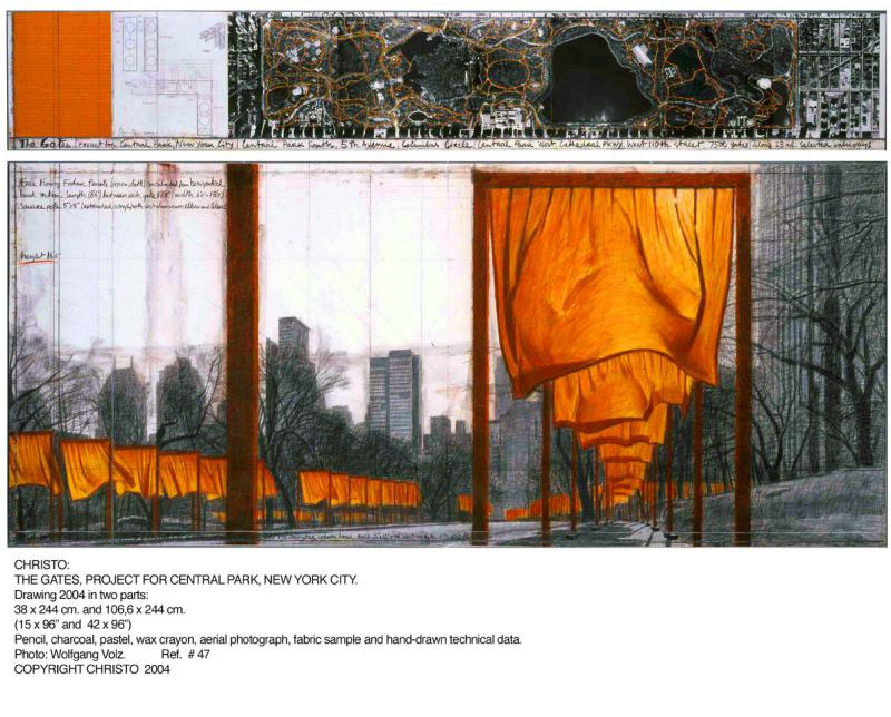 "CHRISTO THE GATES (PROJECT FOR CENTRAL PARK, NEW YORK CITY) Drawing 2001 in two parts: 165 x 38 cm and 165 x 106.6 cm (65 x 15"" and 65 x 42"")"