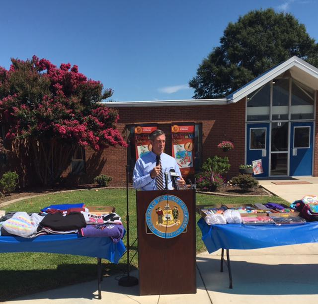 Gov. John Carney speaking about the closets at Towne Point Elementary School