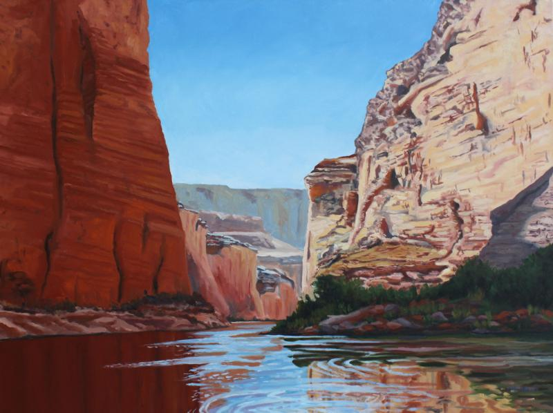 """Morning Light on the River Grand Canyon"" by Meinrad Leckie, 2016, oil on canvas, 30"" x 40"""