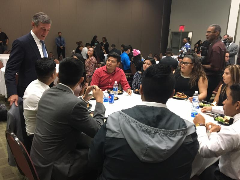 Gov. Carney talks to DACA students at Delaware State University.