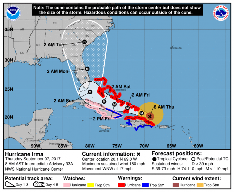 This is the possible track of Hurricane Irma as she continues to churn in the Atlantic with wind speeds of 180 miles-per-hour; Irma is a Cat 5 hurricane