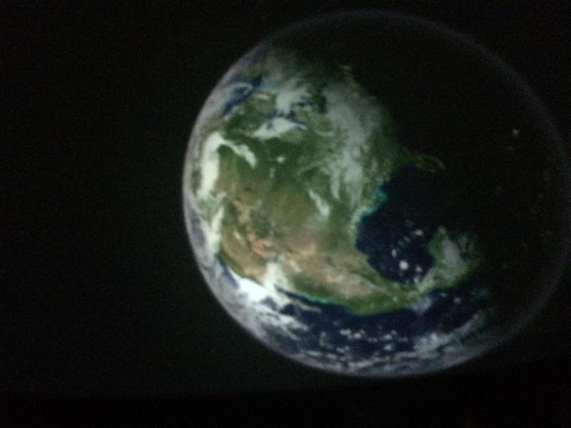 An image of the Earth projected onto the dome in the planetarium.