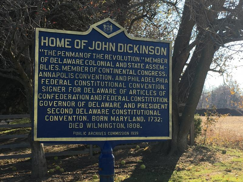 Historic Marker at the Dickinson Plantation outlines John Dickinson's significance