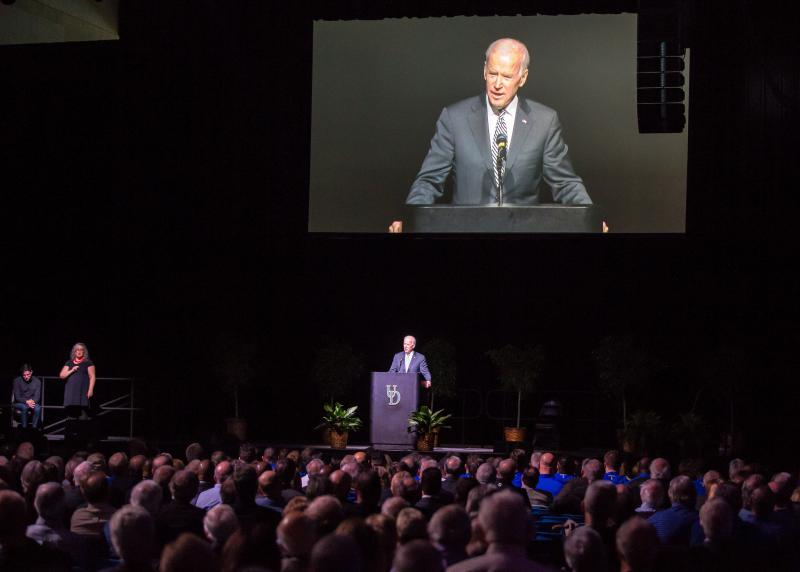 Former VP Joe Biden was among those who spoke at Tubby Raymond's memorial service